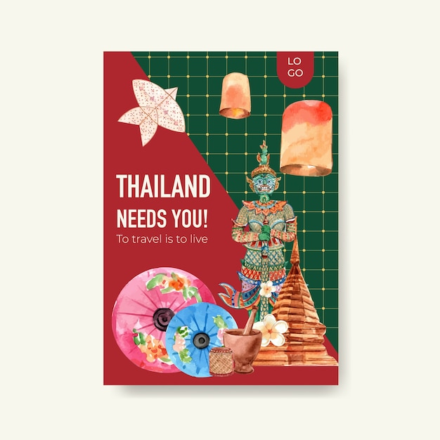 Modello di poster con viaggi in thailandia per il marketing in stile acquerello Vettore gratuito