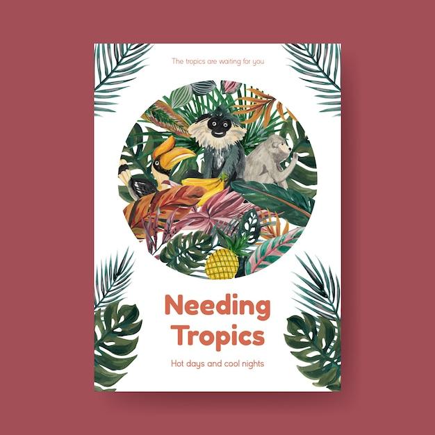 水彩イラストを宣伝およびマーケティングするための熱帯の現代的なコンセプトデザインのポスターテンプレート 無料ベクター