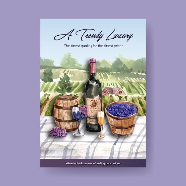 Шаблон плаката с концептуальным дизайном винной фермы для рекламы и маркетинга акварельной иллюстрации. Бесплатные векторы