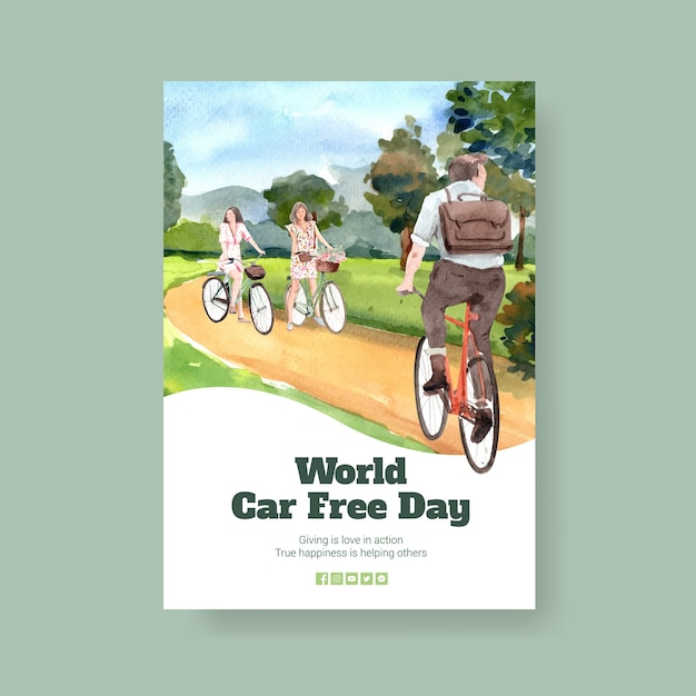 Poster template with world car free day concept design Free Vector