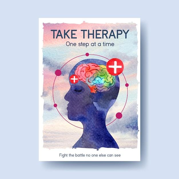 Modello di poster con concept design della giornata mondiale della salute mentale per brochure e opuscolo illustrativo di vettore dell'acquerello. Vettore gratuito