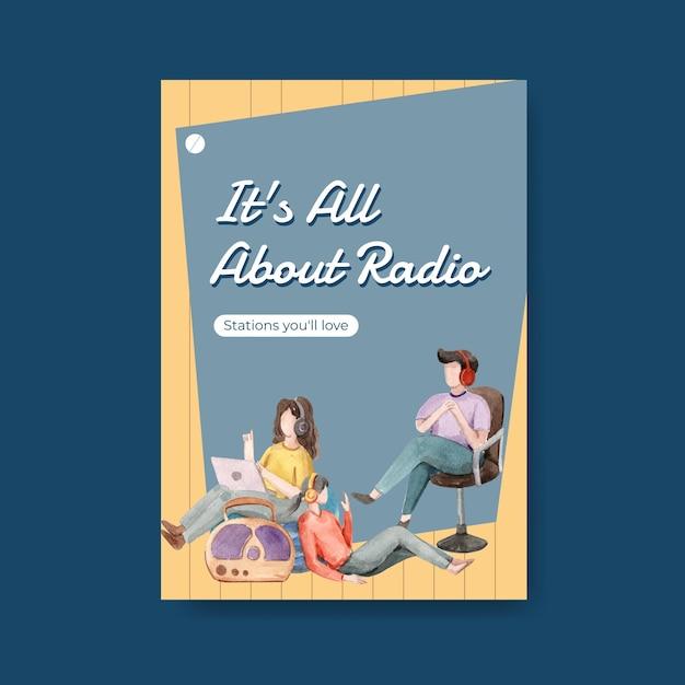Modello di poster con concept design della giornata mondiale della radio per pubblicità e illustrazione dell'acquerello di affari Vettore gratuito