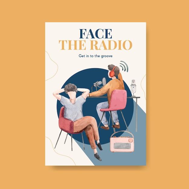 광고 및 비즈니스 수채화 그림에 대한 세계 라디오의 날 컨셉 디자인 포스터 템플릿 무료 벡터