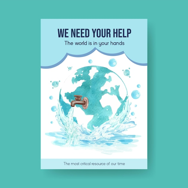 Poster template with world water day concept design for advertise and marketing watercolor illustration Free Vector