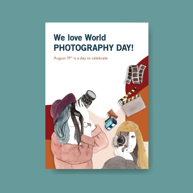 Poster template for world photography day Free Vector