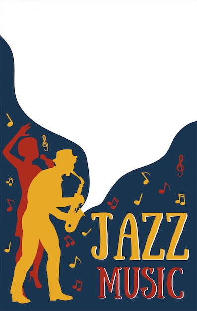 Poster templates for jazz music festival,concert with silhouette of jazz musicians and african girl singer.retro style illustration Premium Vector