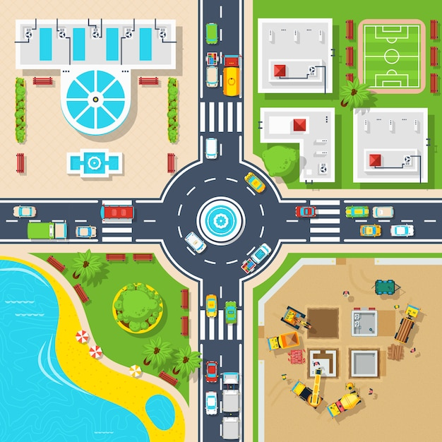 Poster of top view city Free Vector