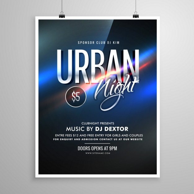 Poster for urban party at the disco Free Vector