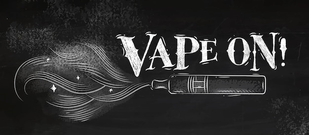 Poster vaporizer with smoke cloud in vintage style lettering vape on drawing with chalk Premium Vector