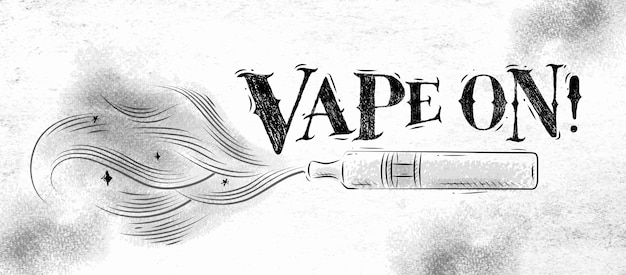 Poster vaporizer with smoke cloud in vintage style lettering vape on drawing on Premium Vector