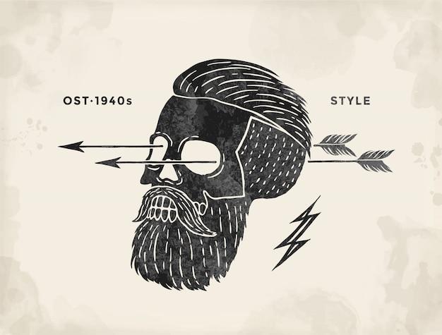 Poster of vintage skull hipster label. retro old school set for t-shirt print. Premium Vector