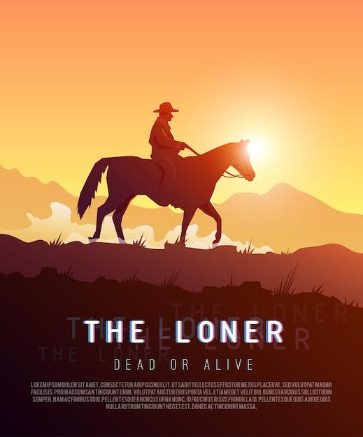 Poster wild west. loner. Premium Vector