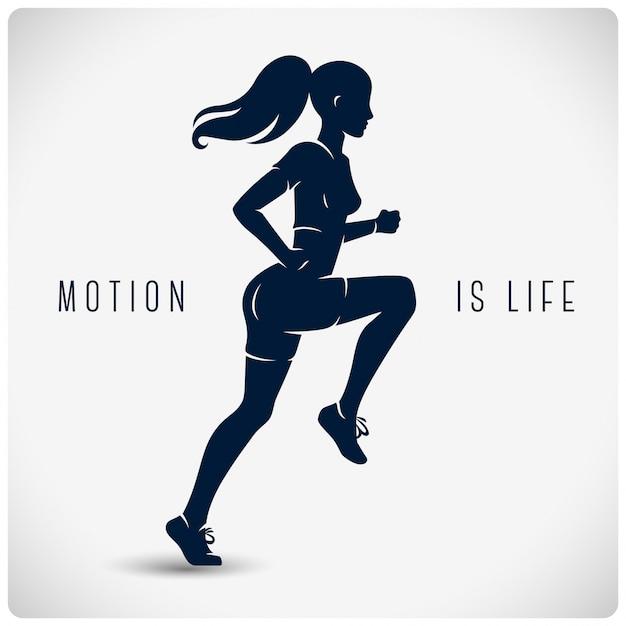 走っている女性とポスター Premiumベクター