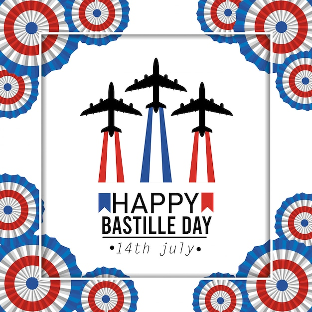 Poster with airplane celebration and france decoration Free Vector