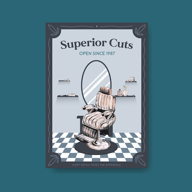 Poster with barber concept design. Free Vector