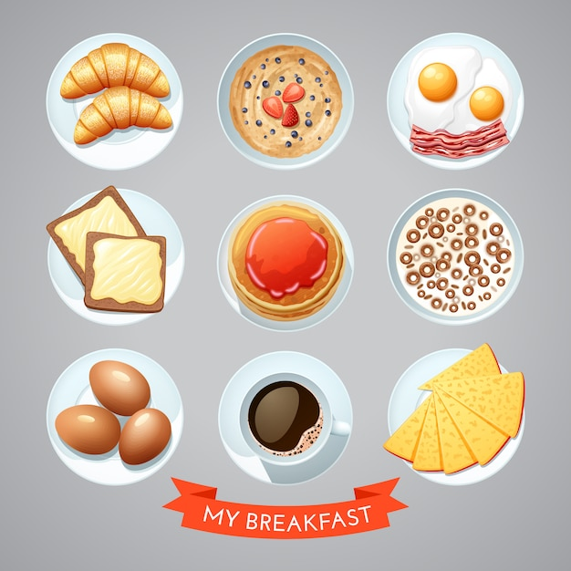 Poster with breakfast set Free Vector