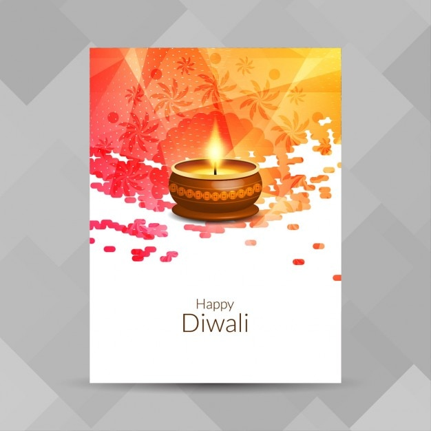 Poster with a candle for diwali Free Vector