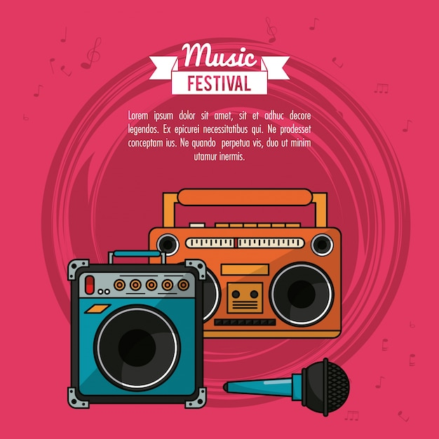 Poster with cassette tape player and speaker box and microphone Premium Vector