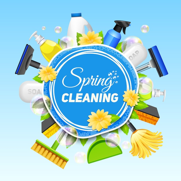 Poster with composition of different tools for cleaning service colored on blue background vector Free Vector