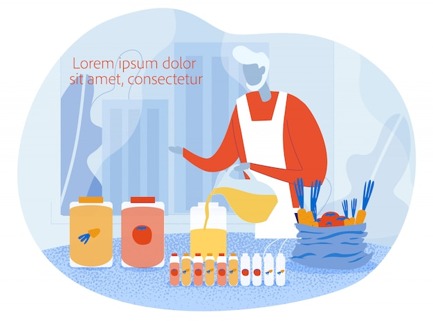 野菜ジュースを準備するクックシェフとポスター Premiumベクター