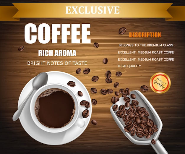 poster with cup of coffee, package design Free Vector