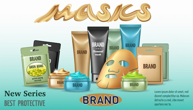 Poster with different types of face masks Free Vector