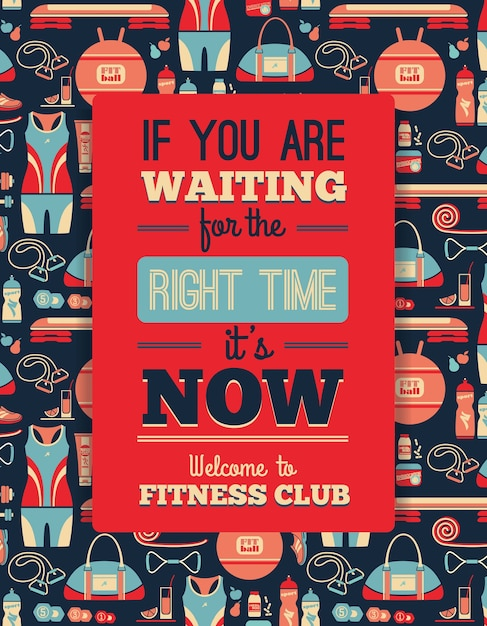 Poster with fitness icons. vector illustration Premium Vector
