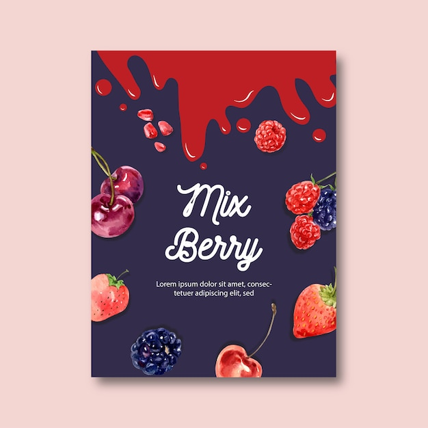 Poster with fruits-theme, creative berries illustration template Free Vector