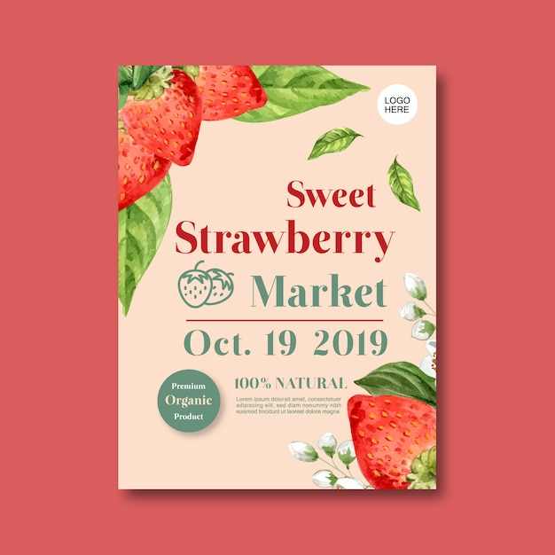 Poster with fruits-theme, creative strawberry and flower illustration template Free Vector
