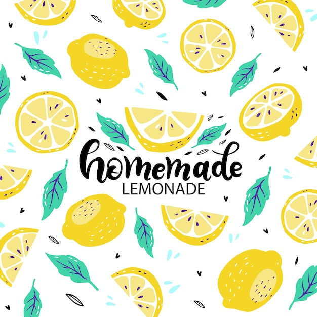 Poster with hand drawn lettering inscriptions about handmade lemonade Premium Vector