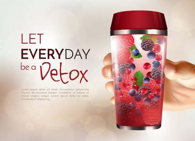 Poster with hand holding detox bottle Free Vector