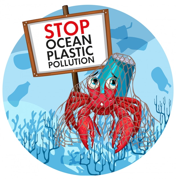 Poster with hermit crab holding no plastic sign Free Vector