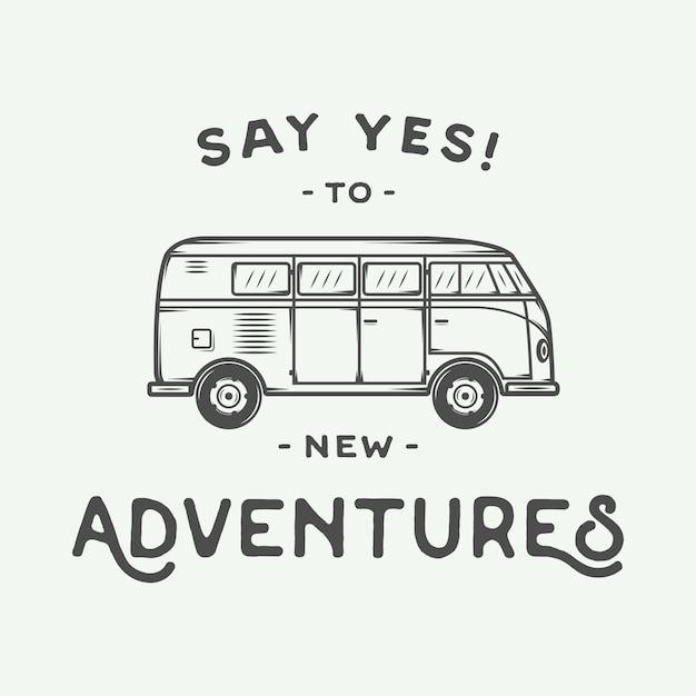 Poster with hippie van Premium Vector