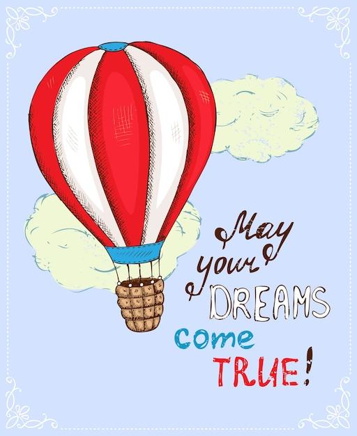 熱気球のポスター、夢が叶うベクトルイラスト 無料ベクター