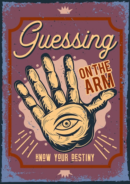 Poster with illustration of guessing on the arm Free Vector