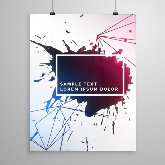 poster with ink splashes vector