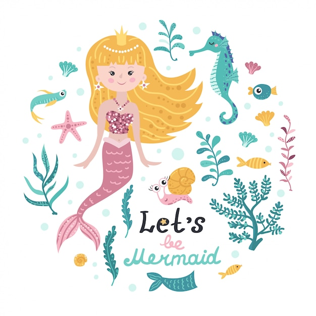 Poster with mermaid, sea animals and lettering Premium Vector