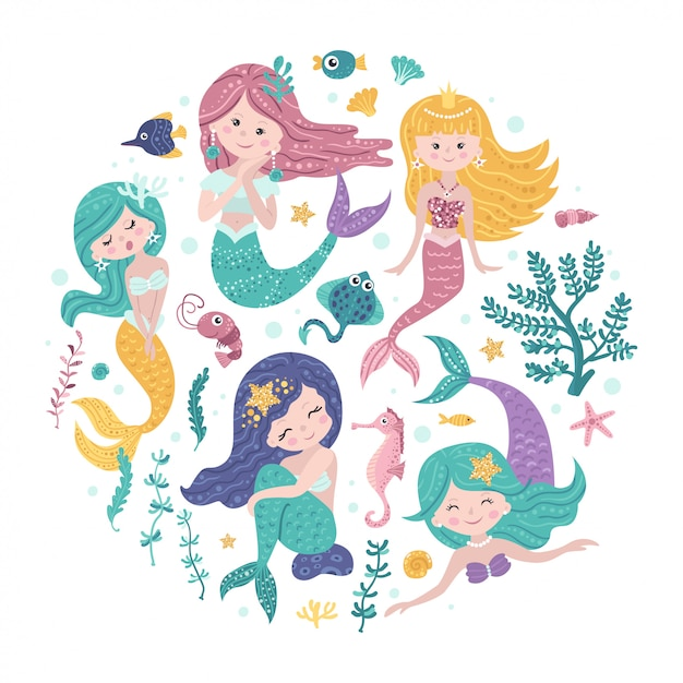Poster with mermaids and sea animals Premium Vector