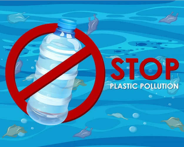 Poster with no plastic bottle Free Vector