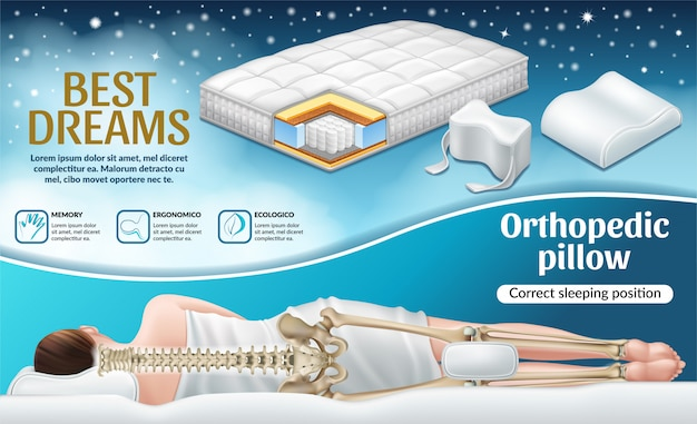 Poster with orthopedic mattress and pillow. Free Vector