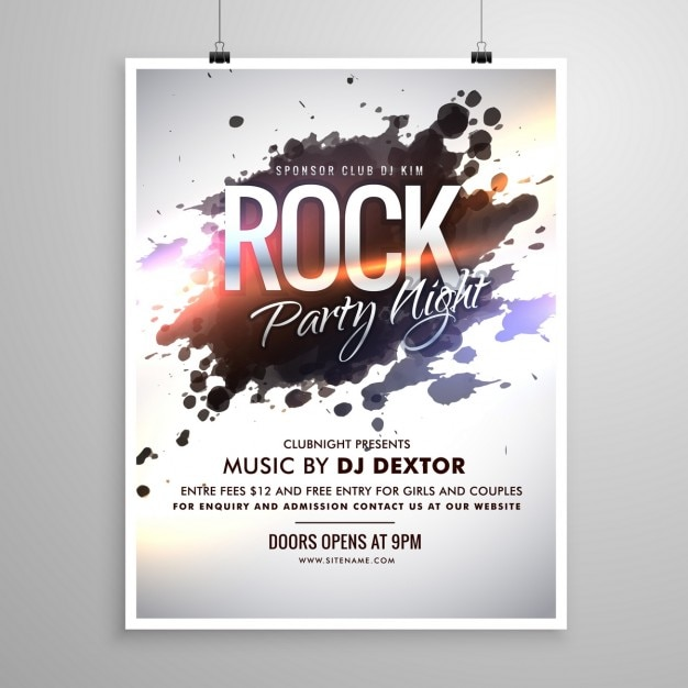 Poster with paint stains for a rock party Vector | Free