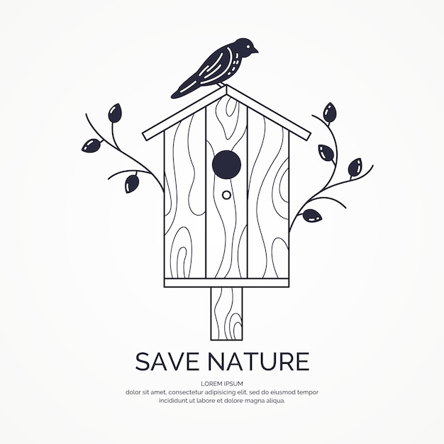 Poster with a picture of the birdhouse. vector illustration in flat style. Premium Vector