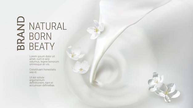 Poster with pouring milk, falling jasmine flower Free Vector