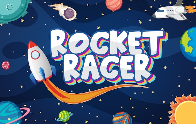 Poster with rocket racer in dark space Premium Vector