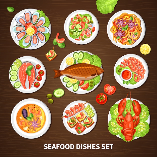 Poster with seafood dishes set Free Vector