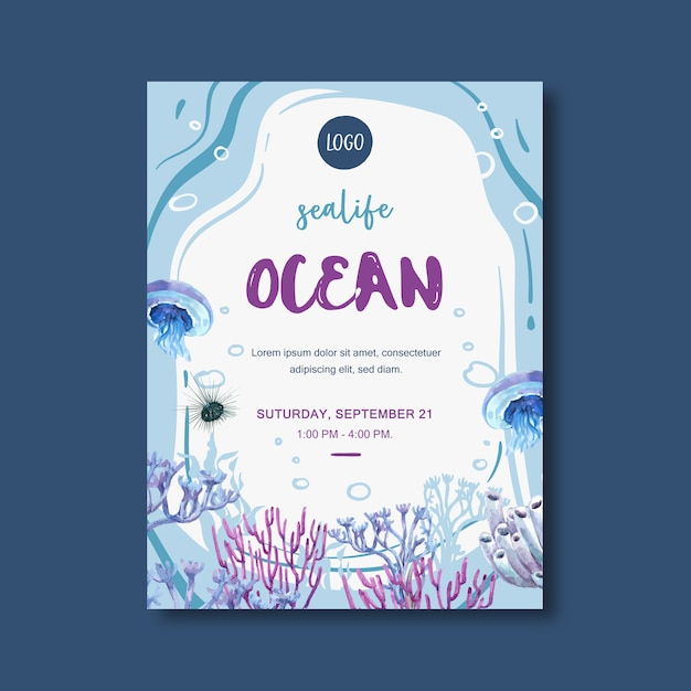 Poster with sealife-theme, creative jellyfish and coral watercolor illustration. Free Vector