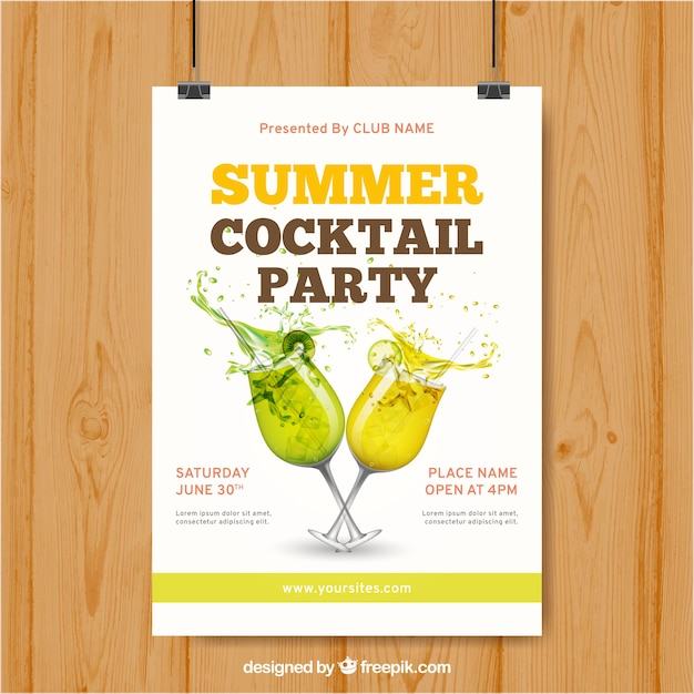 Poster with summer drinks for party Free Vector