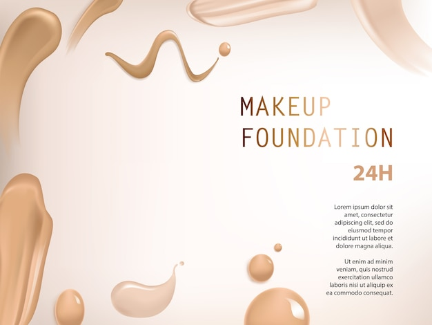 Poster with texture of smears of liquid foundation Free Vector