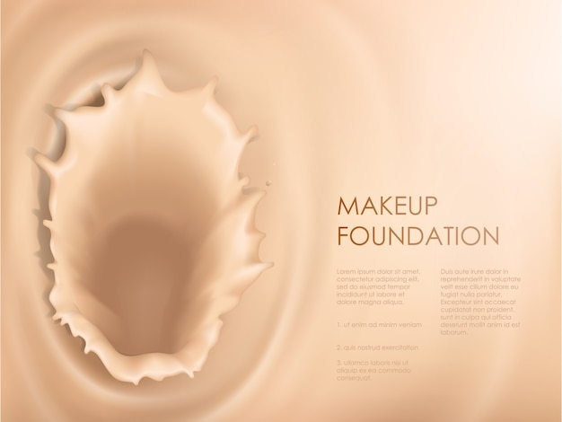 Poster with texture of splash of liquid foundation Free Vector
