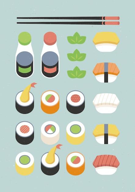 さまざまな寿司のポスター 無料ベクター